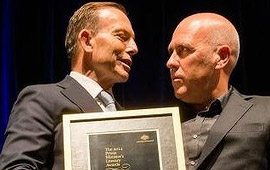 Tony Abbott and Richard Flanagan Photo: Josh Robenstone